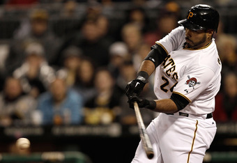 Pedro Alvarex delivers an RBI single in the Pirates 2-0 win on Saturday night