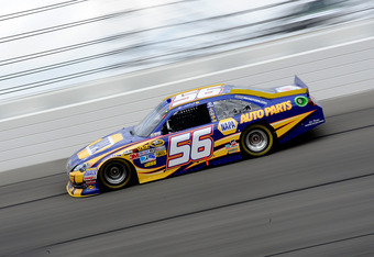KANSAS CITY, KS - APRIL 22:  Martin Truex Jr., driver of the #56 NAPA Auto Parts Toyota, races during the NASCAR Sprint Cup Series STP 400 at Kansas Speedway on April 22, 2012 in Kansas City, Kansas.  (Photo by John Harrelson/Getty Images for NASCAR)