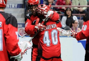 Heavenor and Jeff Shattler celebrate Heavenor's second goal of the game (Photo: calgaryroughnecks.com)