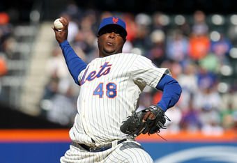 NEW YORK, NY - APRIL 05:  Frank Francisco #48 of the New York Mets throws a pitch against the Atlanta Braves during their Opening Day Game at Citi Field on April 5, 2012 in New York City. The Mets won 1-0.  (Photo by Nick Laham/Getty Images)