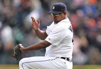 DETROIT, MI - APRIL 10: Jose Valverde #46 of the Detroit Tigers reacts after beating the Tampa Bay Rays 5-2 at Comerica Park on April 10, 2012 in Detroit, Michigan.  (Photo by Gregory Shamus/Getty Images)