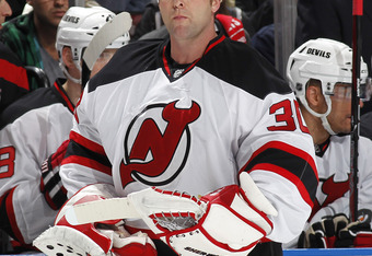 SUNRISE, FL - APRIL 21: Goaltender Martin Brodeur #30 of the New Jersey Devils skates back towards the net after a time out against the Florida Panthers in Game Five of the Eastern Conference Quarterfinals during the 2012 NHL Stanley Cup Playoffs at the B