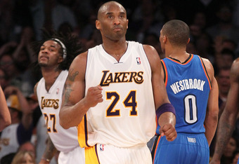 LOS ANGELES, CA - APRIL 22:  Kobe Bryant #24 of the Los Angeles Lakers celebragtes a basket against the Oklahoma City Thunder at Staples Center on April 22, 2012 in Los Angeles, California. The  Lakers won 114-106 in double overtime.  NOTE TO USER: User e