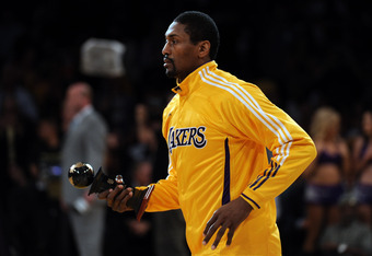 World Peace with his J. Walter Kennedy Award