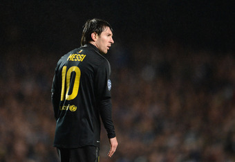 LONDON, ENGLAND - APRIL 18:  Lionel Messi of Barcelona looks on during the UEFA Champions League Semi Final first leg match between Chelsea and Barcelona at Stamford Bridge on April 18, 2012 in London, England.  (Photo by Jasper Juinen/Getty Images)
