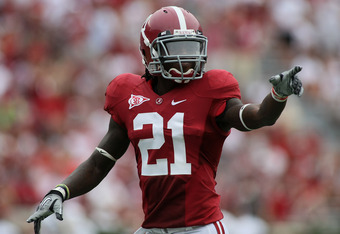TUSCALOOSA, AL - SEPTEMBER 3:  Defensive back Dre Kirkpatrick #21 of the Alabama Crimson Tide during the game with the Kent State Golden Flashes on September 3, 2011 at Bryant Denny Stadium in Tuscaloosa, Alabama.  Alabama defeated Kent State 48-7.  (Phot