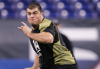 INDIANAPOLIS, IN - FEBRUARY 25: Offensive lineman David DeCastro of Stanford participates in a drill during the 2012 NFL Combine at Lucas Oil Stadium on February 25, 2012 in Indianapolis, Indiana. (Photo by Joe Robbins/Getty Images)