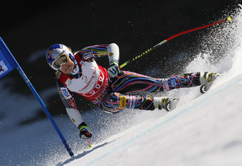 SCHLADMING, AUSTRIA - MARCH 15: (FRANCE OUT) Lindsey Vonn of the USA wins the Overall World Cup SuperG globe during the Audi FIS Alpine Ski World Cup Women's SuperG on March 15, 2012 in Schladming, Austria. (Photo by Alexis Boichard/Agence Zoom/Getty Imag