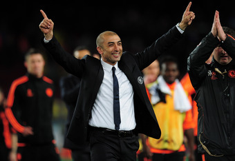 BARCELONA, SPAIN - APRIL 24:  Roberto Di Matteo caretaker manager of Chelsea celebrates victory at the final whistle during the UEFA Champions League Semi Final, second leg match between FC Barcelona and Chelsea FC at Camp Nou on April 24, 2012 in Barcelo