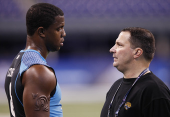 INDIANAPOLIS, IN - FEBRUARY 27: Jacksonville Jaguars defensive line coach Joe Cullen talks with Quinton Coples of North Carolina during the 2012 NFL Combine at Lucas Oil Stadium on February 27, 2012 in Indianapolis, Indiana. (Photo by Joe Robbins/Getty Im
