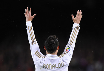 BARCELONA, SPAIN - APRIL 21:  Cristiano Ronaldo of Real Madrid CF reacts during the La Liga match between FC Barcelona and Real Madrid at Camp Nou on April 21, 2012 in Barcelona, Spain. Real Madrid CF won 1-2.  (Photo by David Ramos/Getty Images)