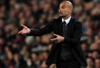 BARCELONA, SPAIN - APRIL 24:  Head coach Josep Guardiola of FC Barcelona  gives instructions from the touchline during the UEFA Champions League Semi Final, second leg match between FC Barcelona and Chelsea FC at Camp Nou on April 24, 2012 in Barcelona, S
