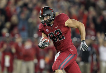 STANFORD, CA - NOVEMBER 26:  Coby Fleener #82 of the Stanford Cardinal runs in for a touchdown in the fourth quarter of their game against the Notre Dame Fighting Irish at Stanford Stadium on November 26, 2011 in Stanford, California.  (Photo by Ezra Shaw
