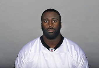 METAIRE, LA - CIRCA 2011: In this handout image provided by the NFL,  Aubrayo Franklin of the New Orleans Saints poses for his NFL headshot circa 2011 in Metairie, Louisiana. (Photo by NFL via Getty Images)