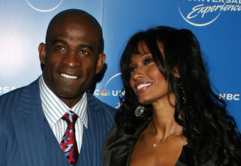 NEW YORK - MAY 12:  Former football player Deion Sanders and his wife Pilar arrive for the NBC Universal Experience at Rockefeller Center as part of upfront week on May 12, 2008 in New York City.  (Photo by Bryan Bedder/Getty Images)