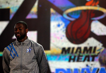ORLANDO, FL - FEBRUARY 26:  Dwyane Wade #3 of the Miami Heat and and the Eastern Conference looks on during player introductions for the 2012 NBA All-Star Game at the Amway Center on February 26, 2012 in Orlando, Florida.  NOTE TO USER: User expressly ack