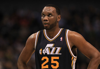 DALLAS, TX - FEBRUARY 23:  Forward Al Jefferson #25 of the Utah Jazz at American Airlines Center on February 23, 2011 in Dallas, Texas.  NOTE TO USER: User expressly acknowledges and agrees that, by downloading and or using this photograph, User is consen