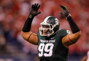 INDIANAPOLIS, IN - DECEMBER 03:  Jerel Worthy #99 of the Michigan State Spartans reacts against the Wisconsin Badgers during the Big 10 Conference Championship Game at Lucas Oil Stadium on December 3, 2011 in Indianapolis, Indiana.  (Photo by Gregory Sham