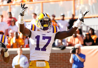 KNOXVILLE, TN - OCTOBER 15:  Morris Claiborne #17 of the LSU Tigers against the Tennessee Volunteers at Neyland Stadium on October 15, 2011 in Knoxville, Tennessee.  (Photo by Kevin C. Cox/Getty Images)