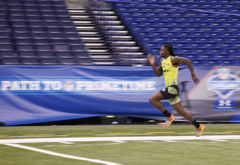 INDIANAPOLIS, IN - FEBRUARY 28: Defensive back Dre Kirkpatrick of Alabama participates in the 40-yard dash during the 2012 NFL Combine at Lucas Oil Stadium on February 28, 2012 in Indianapolis, Indiana. (Photo by Joe Robbins/Getty Images)