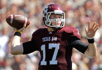 COLLEGE STATION, TX - OCTOBER 15:  Ryan Tannehill #17 of the Texas A&M Aggies throws during a game against the Baylor Bears at Kyle Field on October 15, 2011 in College Station, Texas. The Texas A&M Aggies defeated the Baylor Bears 55-28.  (Photo by Sarah