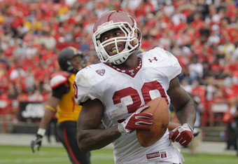 COLLEGE PARK, MD - SEPTEMBER 24: Running back Bernard Pierce #30 of the Temple Owls smiles after scoring a touchdown during the second quarter against the Maryland Terrapins at Byrd Stadium on September 24, 2011 in College Park, Maryland.  (Photo by Rob C