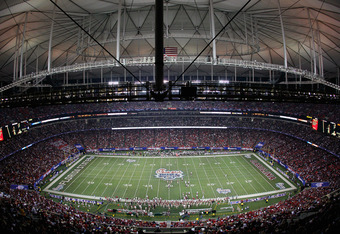 A sold out Georgia Dome for the 2010 Chick-Fil-A Bowl