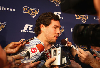 EARTH CITY, MMO - JANUARY 17: St. Louis Rams quarterback Sam Bradford addresses the media during a press conference to introduce new head coach Jeff Fisher at the Russell Training Center on January 17, 2012 in Earth City, Missouri.  (Photo by Dilip Vishwa