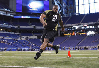 INDIANAPOLIS, IN - FEBRUARY 25: Offensive lineman Cordy Glenn of Georgia participates in a drill during the 2012 NFL Combine at Lucas Oil Stadium on February 25, 2012 in Indianapolis, Indiana. (Photo by Joe Robbins/Getty Images)