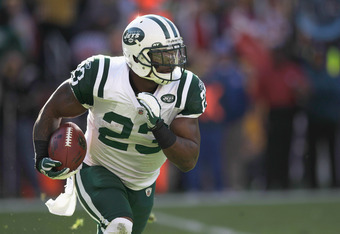 LANDOVER, MD - DECEMBER 04:  Shonn Greene #23 of the New York Jets carries the ball against the Washington Redskins at FedExField on December 4, 2011 in Landover, Maryland.  (Photo by Rob Carr/Getty Images)