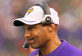 MINNEAPOLIS, MN - DECEMBER 18:   Head coach Leslie Frazier of the Minnesota Vikings expresses his frustrations after losing to the New Orleans Saints 42-20 at the Hubert H. Humphrey Metrodome on December 18, 2011 in Minneapolis, Minnesota.  (Photo by Adam