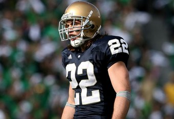 SOUTH BEND, IN - OCTOBER 17: Harrison Smith #22 of the Notre Dame Fighting Irish awaits the start of play against the USC Trojans at Notre Dame Stadium on October 17, 2009 in South Bend, Indiana. USC defeated Notre Dame 34-27. (Photo by Jonathan Daniel/Ge