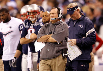 INDIANAPOLIS, IN - FEBRUARY 05:  Head coach Bill Belichick of the New England Patriots looks on against the New York Giants during Super Bowl XLVI at Lucas Oil Stadium on February 5, 2012 in Indianapolis, Indiana.  (Photo by Rob Carr/Getty Images)