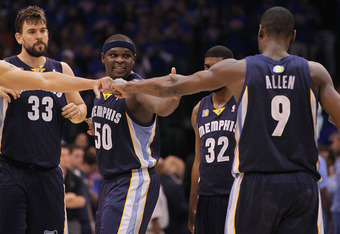 OKLAHOMA CITY, OK - MAY 15:  (L-R) Marc Gasol #33, Zach Randolph #50, O.J. Mayo #32 and Tony Allen #9 of the Memphis Grizzlies before play against the Oklahoma City Thunder in Game Seven of the Western Conference Semifinals in the 2011 NBA Playoffs on May
