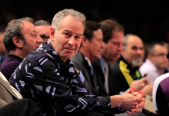 NEW YORK, NY - JANUARY 31: Tennis legend John McEnroe attends the New York Knicks versus the Detroit Pistons at Madison Square Garden on January 31, 2012 in New York City. NOTE TO USER: User expressly acknowledges and agrees that, by downloading and or us