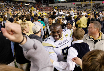 ATLANTA, GA - OCTOBER 29:  Stephen Hill #5 of the Georgia Tech Yellow Jackets celebrates their 31-17 win over the Clemson Tigers at Bobby Dodd Stadium on October 29, 2011 in Atlanta, Georgia.  (Photo by Kevin C. Cox/Getty Images)