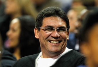 CHARLOTTE, NC - FEBRUARY 11:  Head coach Ron Rivera of the Carolina Panthers watches the game between the Charlotte Bobcats and the Los Angeles Clippers at Time Warner Cable Arena on February 11, 2012 in Charlotte, North Carolina. NOTE TO USER: User expre