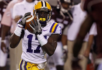 STARKVILLE, MS - SEPTEMBER 15:  Cornerback Morris Claiborne #17 of the LSU Tigers intercepts a pass against Mississipppi State in the fourth quarter on September 15, 2011 at Davis Wade stadium in Starkville, Mississippi. (Photo by Butch Dill/Getty Images)