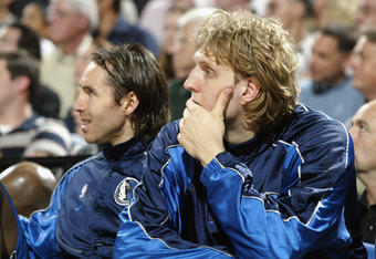 PORTLAND, OR - MAY 2:  Dirk Nowitzki #41 and Steve Nash #13 of the Dallas Mavericks look on in Game six of the Western Conference Quarterfinals during the 2003 NBA Playoffs against the Portland Trail Blazers at The Rose Garden on May 2, 2003 in Portland,