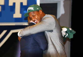 NEW YORK, NY - APRIL 26:  Quinton Coples of North Carolina greets NFL Commissioner Roger Goodell after he was selected #16 overall by the New York Jets in the first round of the 2012 NFL Draft at Radio City Music Hall on April 26, 2012 in New York City.