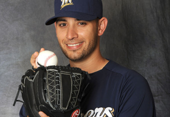 MARYVALE, AZ - FEBRUARY 26:  Marco Estrada #41 of the Milwaukee Brewers poses for a portrait during a photo day at Maryvale Baseball Park on February 26, 2012 in Maryvale, Arizona. (Photo by Rich Pilling/Getty Images)