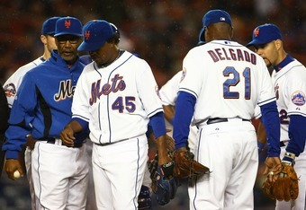 NEW YORK - SEPTEMBER 25:  Pedro Martinez #45 of the New York Mets leaves the mound after being taken out of the game in the seventh inning against the Chicago Cubs during the MLB game at Shea Stadium September 25, 2008 in the Flushing neighborhood of the