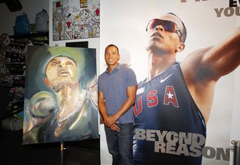 Bryan Clay with an Oakley-commissioned portrait.