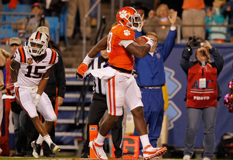 CHARLOTTE, NC - DECEMBER 03: Dwayne Allen #83 of the Clemson Tigers scores a touchdown during the ACC Championship game against the Virginia Tech Hokies at Bank of America Stadium on December 3, 2011 in Charlotte, North Carolina.  (Photo by Mike Ehrmann/G