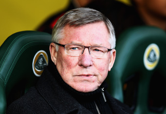 NORWICH, ENGLAND - FEBRUARY 26:  Manchester United Manager Sir Alex Ferguson looks prior to the Barclays Premier League match between Norwich City and Manchester United at Carrow Road on February 26, 2012 in Norwich, England.  (Photo by Bryn Lennon/Getty