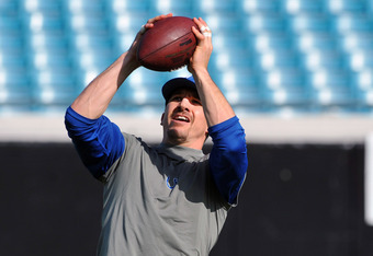 JACKSONVILLE, FL - JANUARY 01: Tight end Dallas Clark #44 of the Indianapolis Colts grabs a warmup pass against the Jacksonville Jaguars January 1, 2012 at EverBank Field in Jacksonville, Florida.  (Photo by Al Messerschmidt/Getty Images)
