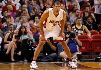 MIAMI, FL - FEBRUARY 21:  Shane Battier #31 of the Miami Heat looks on during a game against the Sacramento Kings at American Airlines Arena on February 21, 2012 in Miami, Florida. NOTE TO USER: User expressly acknowledges and agrees that, by downloading