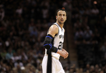 SAN ANTONIO, TX - APRIL 20:  Guard Manu Ginobili #20 of the San Antonio Spurs against the Memphis Grizzlies in Game Two of the Western Conference Quarterfinals in the 2011 NBA Playoffs on April 20, 2011 at AT&T Center in San Antonio, Texas.  NOTE TO USER:
