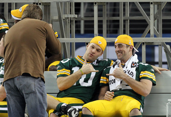 ARLINGTON, TX - FEBRUARY 01:  (R-L) Quarterbacks Aaron Rodgers #12 and Matt Flynn #10 of the Green Bay Packers pose for a photo before Super Bowl XLV Media Day ahead of Super Bowl XLV at Cowboys Stadium on February 1, 2011 in Arlington, Texas. The Pittsbu