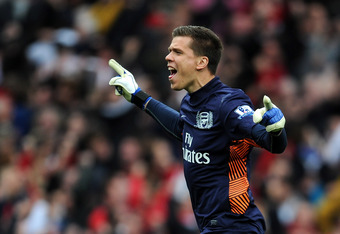 LONDON, ENGLAND - APRIL 08:  Wojciech Szczesny of Arsenal celebrates after Mikel Arteta of Arsenal scored their first goal during the Barclays Premier League match between Arsenal and Manchester City at Emirates Stadium on April 8, 2012 in London, England